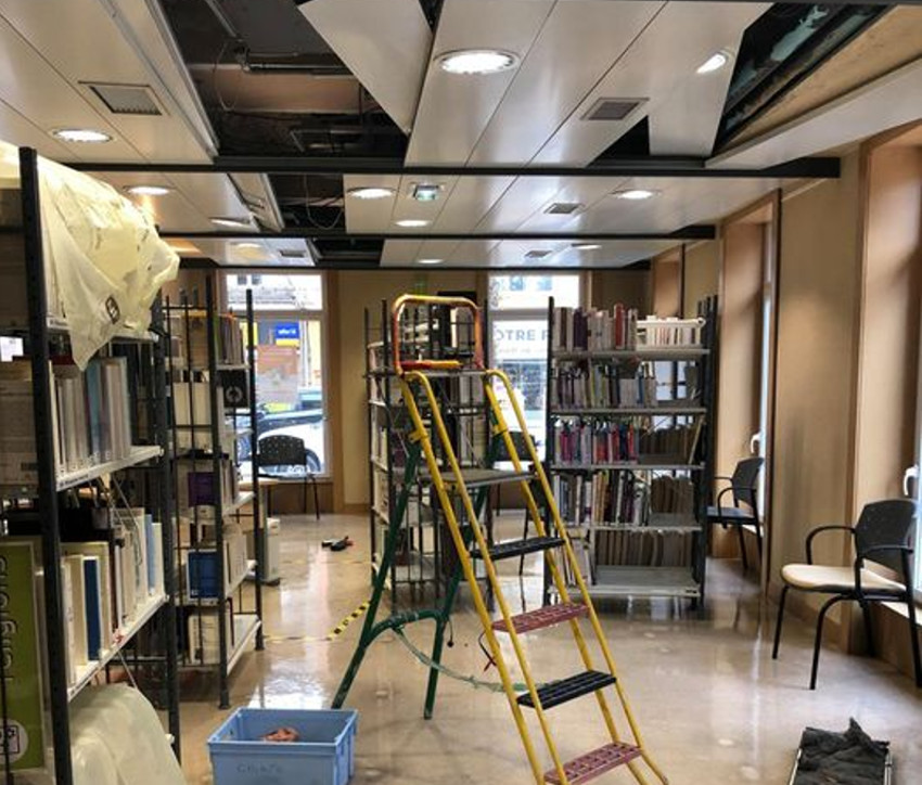 escabeau  mediatheque en travaux